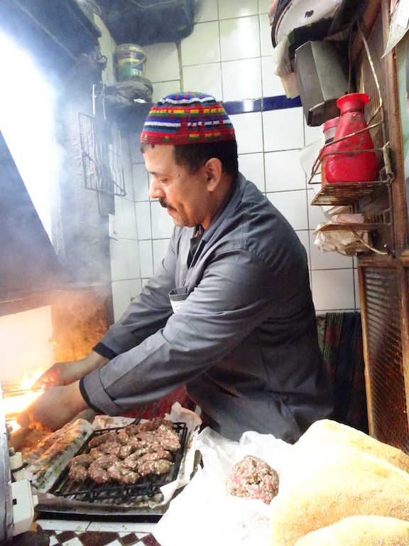 Cooking Kababs in Meknes Medina